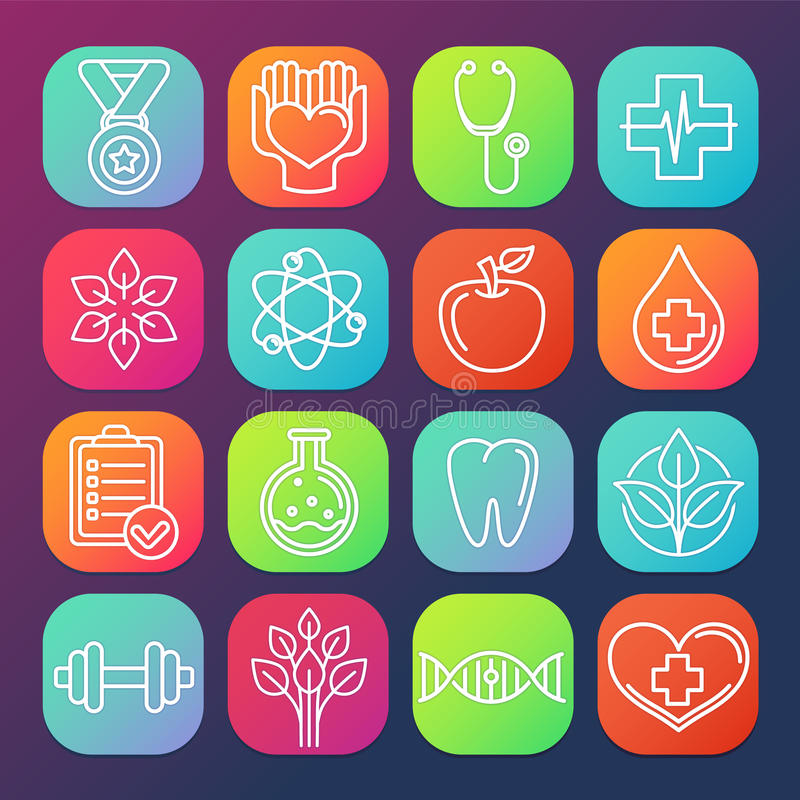 Vector healthcare and fitness icons. And logos on square app buttons vector illustration