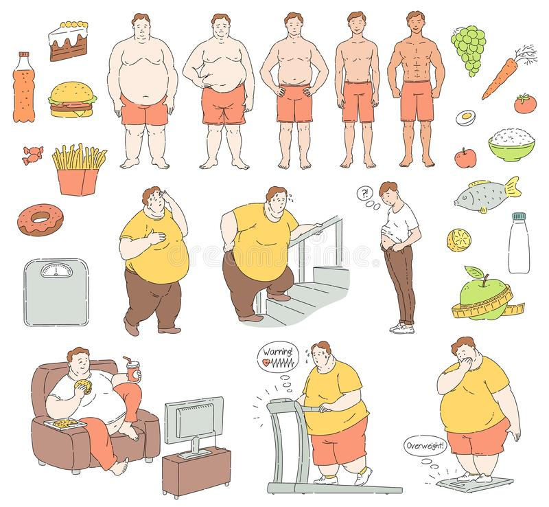 Vector healthy food fit people fastfood obese men. Vector healthy eating and sportive lifestyle characters and food and unhealthy fastfood diet and obesity men vector illustration