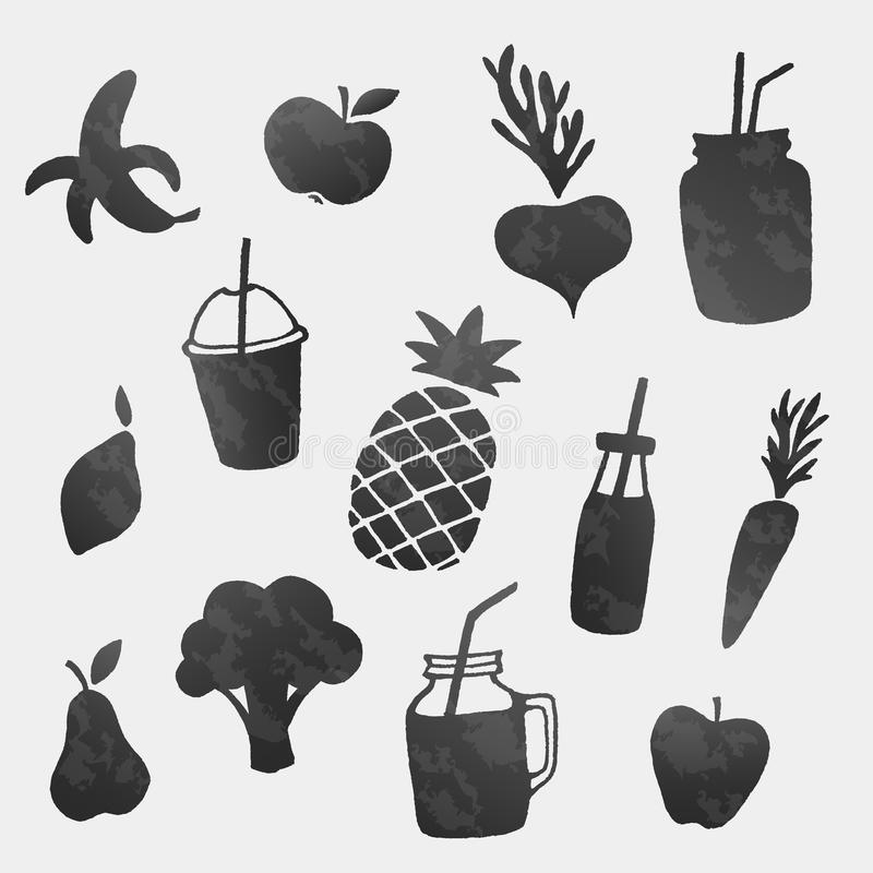 Vector healthy food icons shapes set. Fruits, vegetables and smoothies vector illustration
