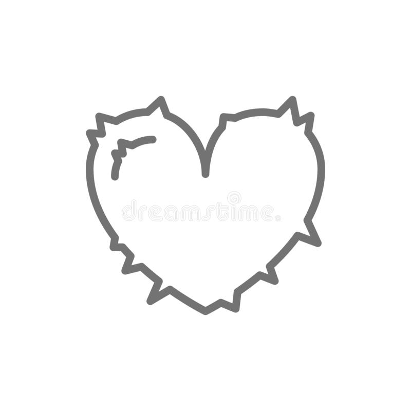 Heart attack, pain in heart line icon. Vector heart attack, pain in heart line icon. Symbol and sign illustration design. Isolated on white background royalty free illustration
