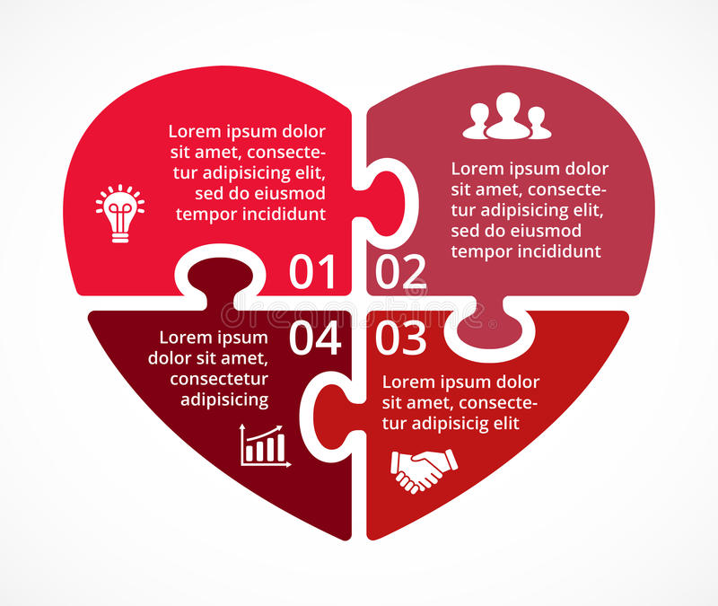 Vector Heart Circle Puzzle Infographic  Template For Love