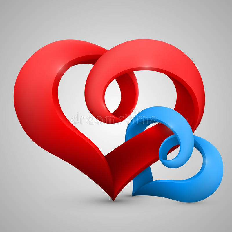 Vector heart in the form of tape. Heart in the form of tape. Vector background stock illustration