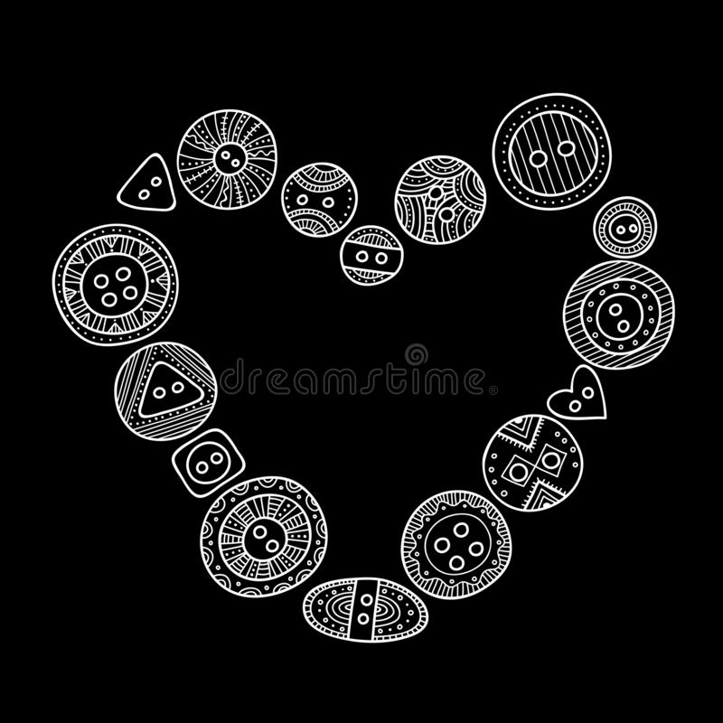 Vector heart frame, border with set of cloth buttons in different designs in boho style vector illustration