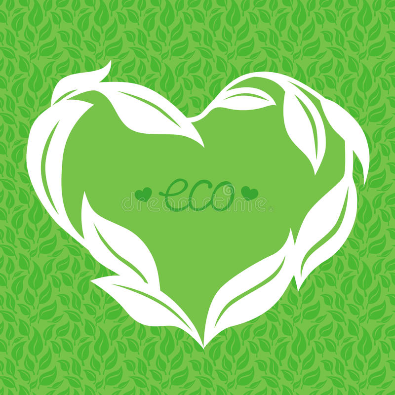 Vector heart frame made from green leaves stock illustration