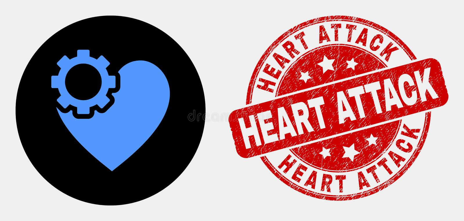 Vector Heart Gear Icon and Distress Heart Attack Stamp Seal. Rounded heart gear pictogram and Heart Attack stamp. Red rounded scratched stamp with Heart Attack vector illustration