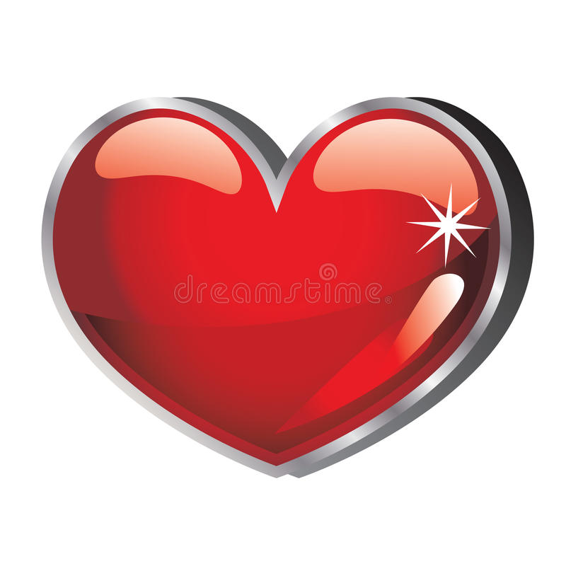 Vector Heart glossy. Heart vector red glossy illustration isolated on white background royalty free illustration