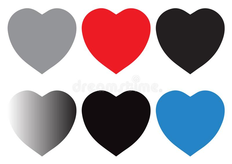 Vector heart icons set. Love symbols isolated over white background royalty free illustration