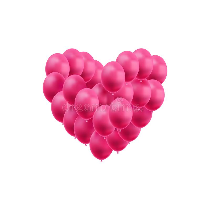 Vector Heart Made of Bright Pink Balloons Isolated, Valentines Day Decoration, Wedding Design Element, Love Symbol. stock illustration