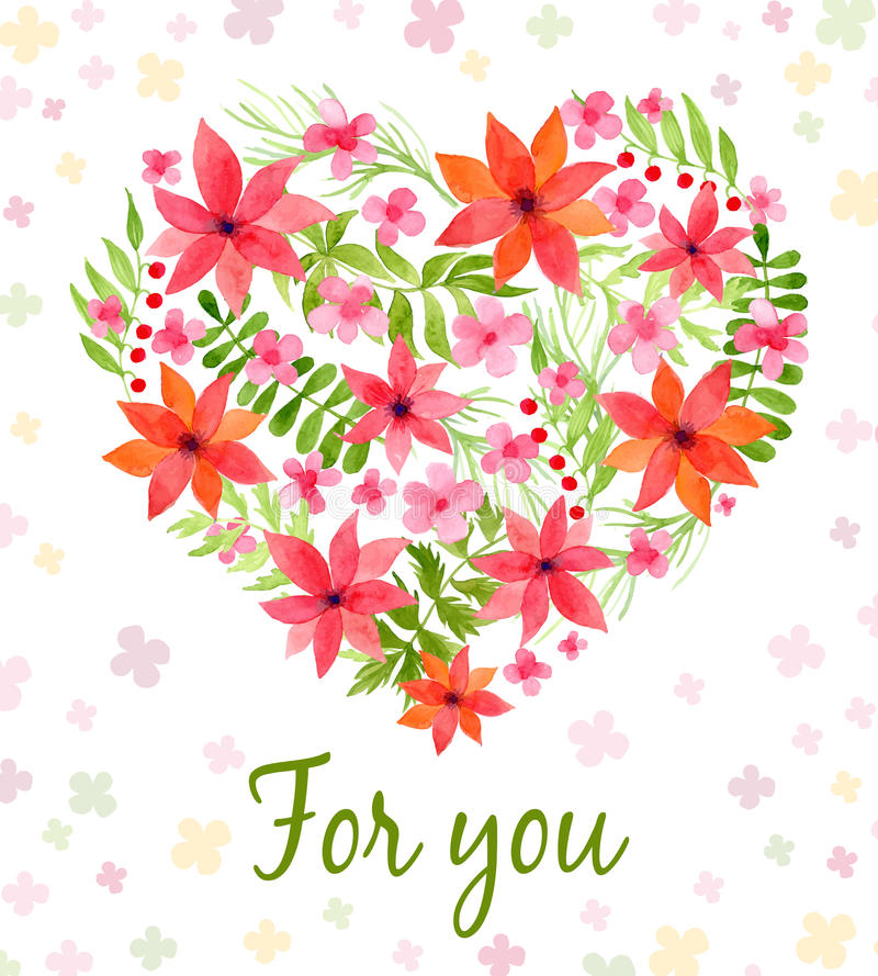 Vector heart made of watercolor flowers stock illustration