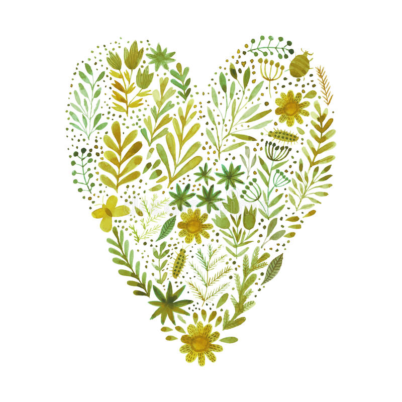Vector heart made of watercolor flowers. Ecology emblem. Love icon. royalty free illustration