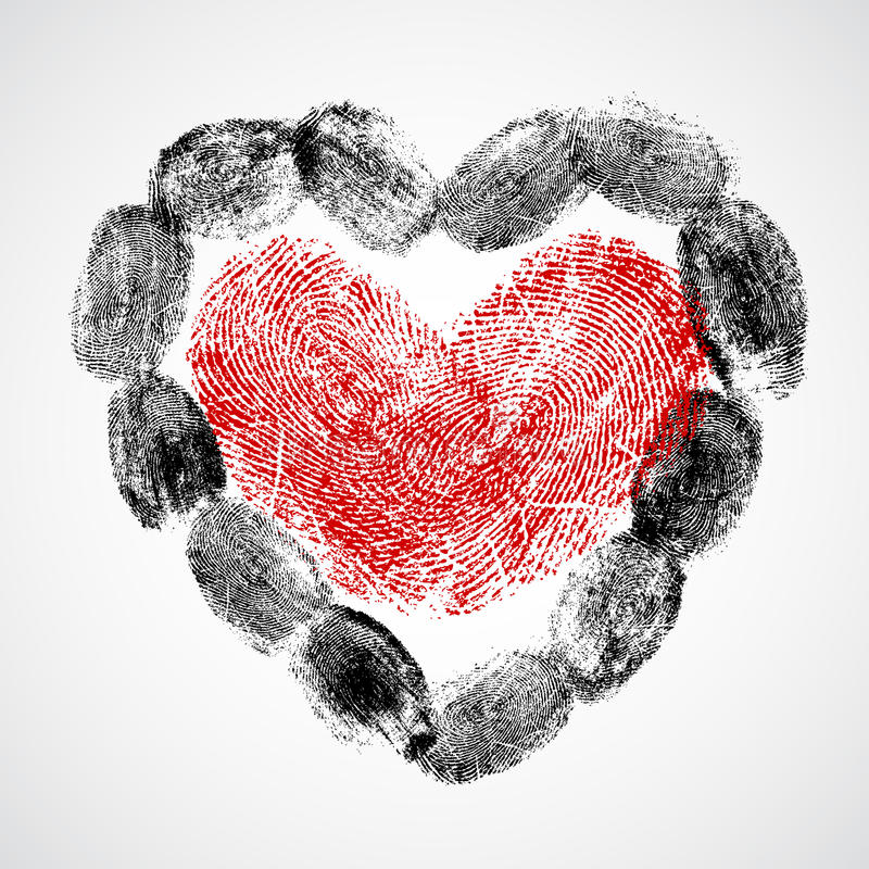 Download Vector Heart, Man And Woman Fingerprint Stock Illustration - Image: 28018637