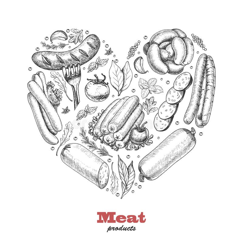 Vector heart of meat products royalty free illustration