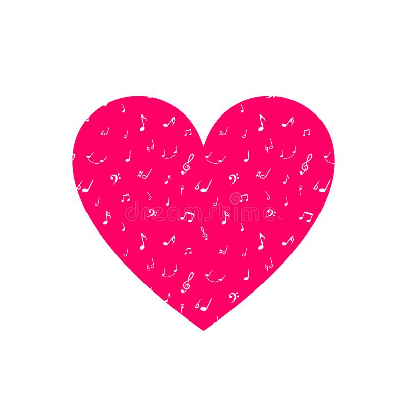 Vector Heart, Musical Note Texture, Bright Pink Color, White Music Symbols, Hand Drawn Illustration Isolated. royalty free illustration