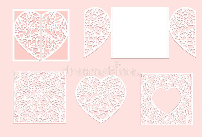 Vector heart paper cutting. White heart made of paper. Laser cut vector. stock photography