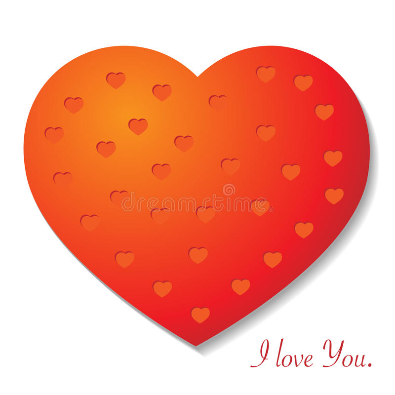 Vector heart. Vector red heart with small heart's pattern and text I love You royalty free illustration