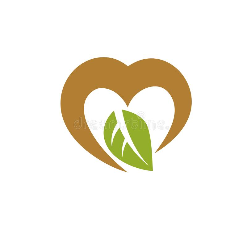 Vector heart shape illustration composed with green leaves. Living in harmony with nature concept. Vector heart shape illustration composed with green leaves royalty free illustration