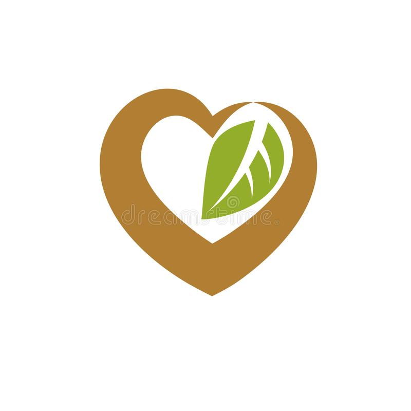 Vector heart shape illustration composed with green leaves. Living in harmony with nature concept. Vector heart shape illustration composed with green leaves stock illustration