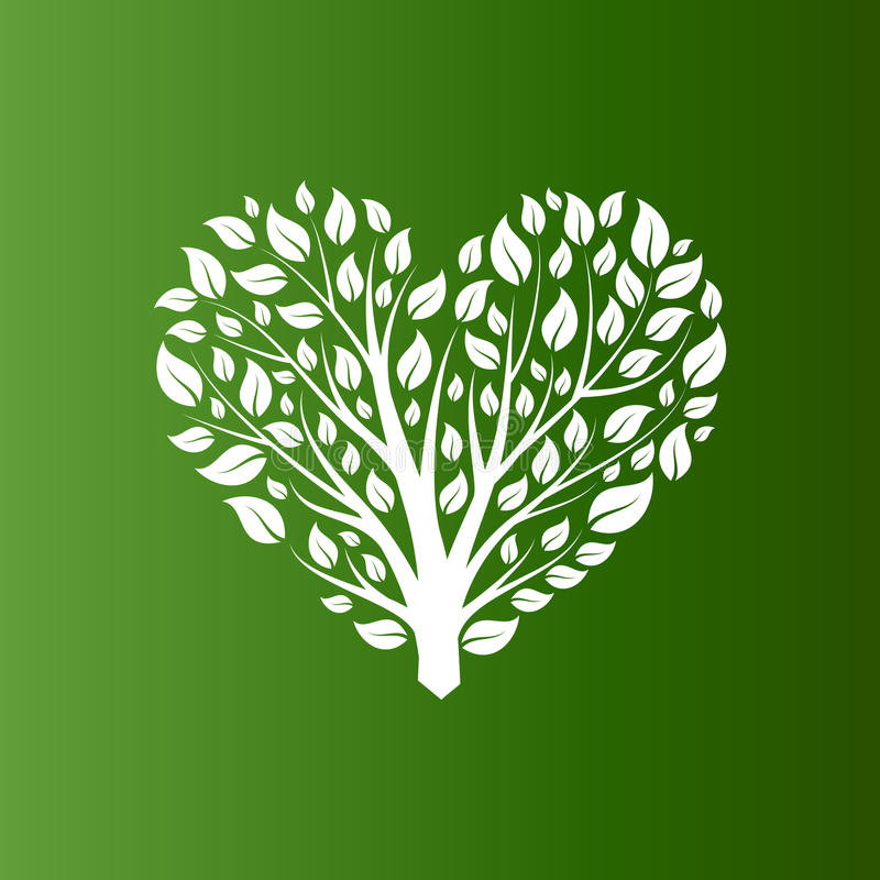 Vector heart shape tree on green background vector illustration