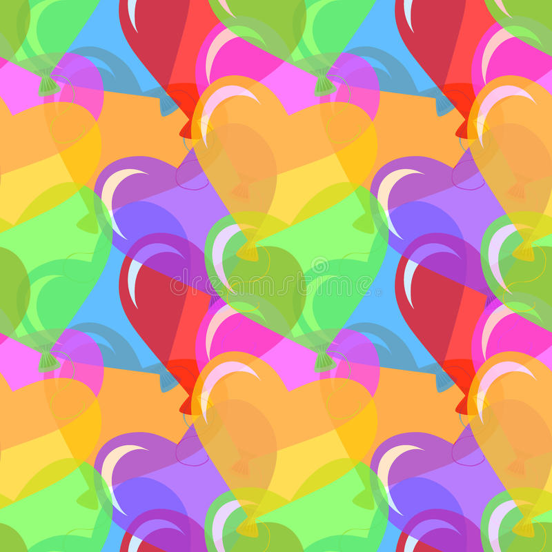 Vector heart shaped balloons background. Vector seamless background with multicolored and heart shape balloons stock illustration