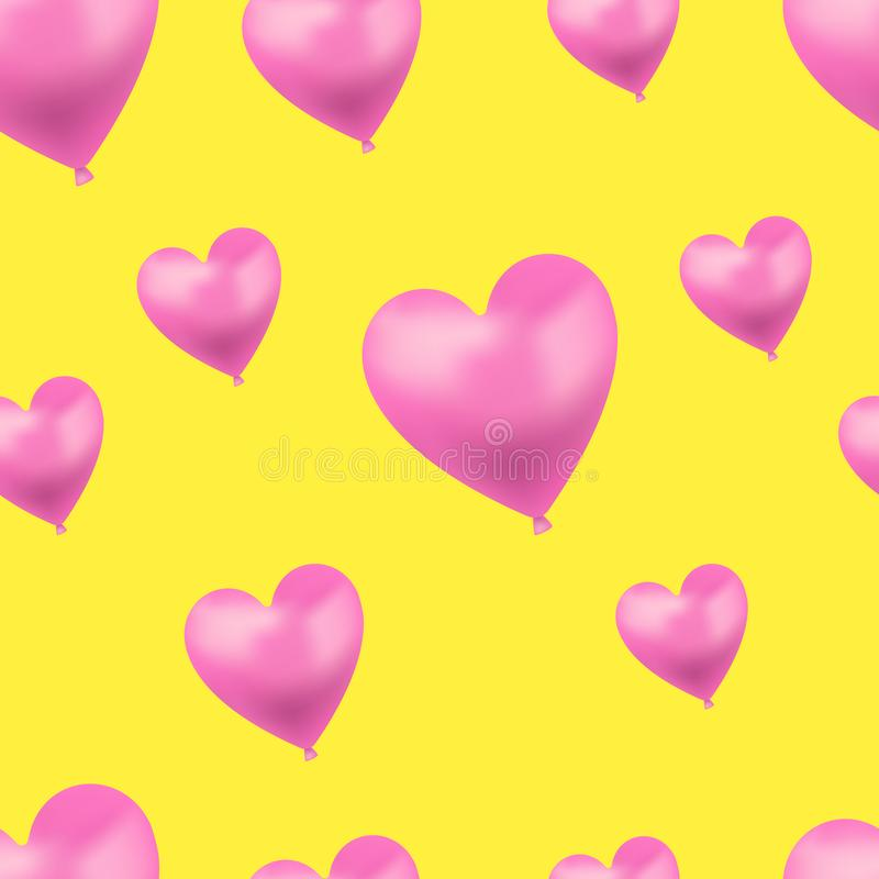 Vector Heart Shaped Bright Pink Balloons on Yellow Background, Seamless Pattern Template. vector illustration
