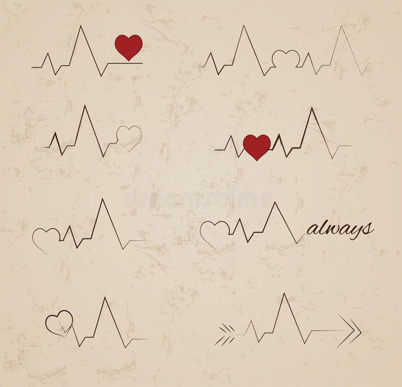 Vector heartbeat tattoo designs. Collection of vector heartbeat tattoo designs vector illustration