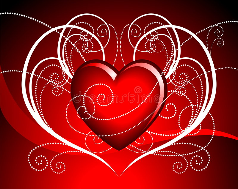 Vector hearth illustration. Valentin day illustration with lovely hearth on red background stock illustration
