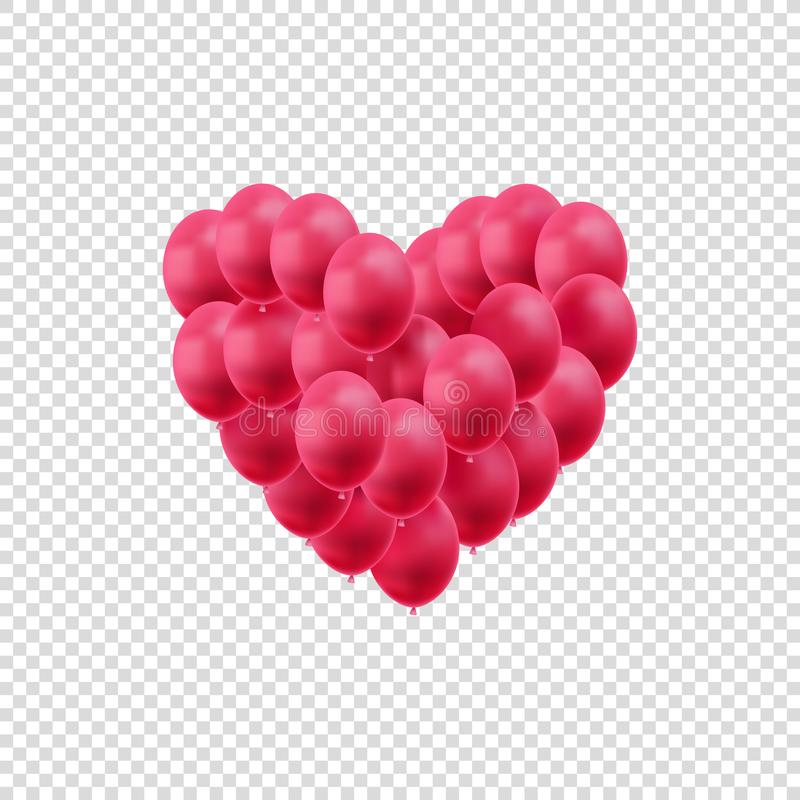 Vector Hearts, Bright Red Balloons Isolated on White Background, Valentines Day Decoration, Wedding Design Element. royalty free illustration