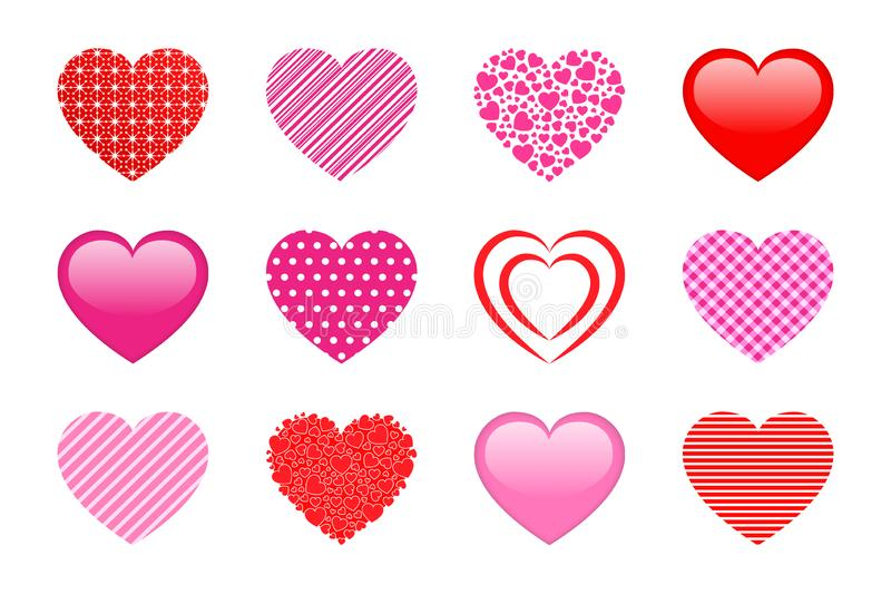 Vector hearts collection. Design elements set for wedding and Valentine`s Day, Good choice for wrapping paper, clothes prints, lo stock illustration