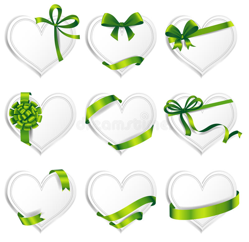 Vector hearts set for wedding and valentine design. Set of beautiful heart-shaped cards with green gift bows with ribbons. Vector illustration stock illustration