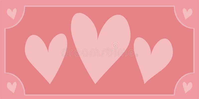 Vector hearts with sweet retro pink background royalty free stock photo