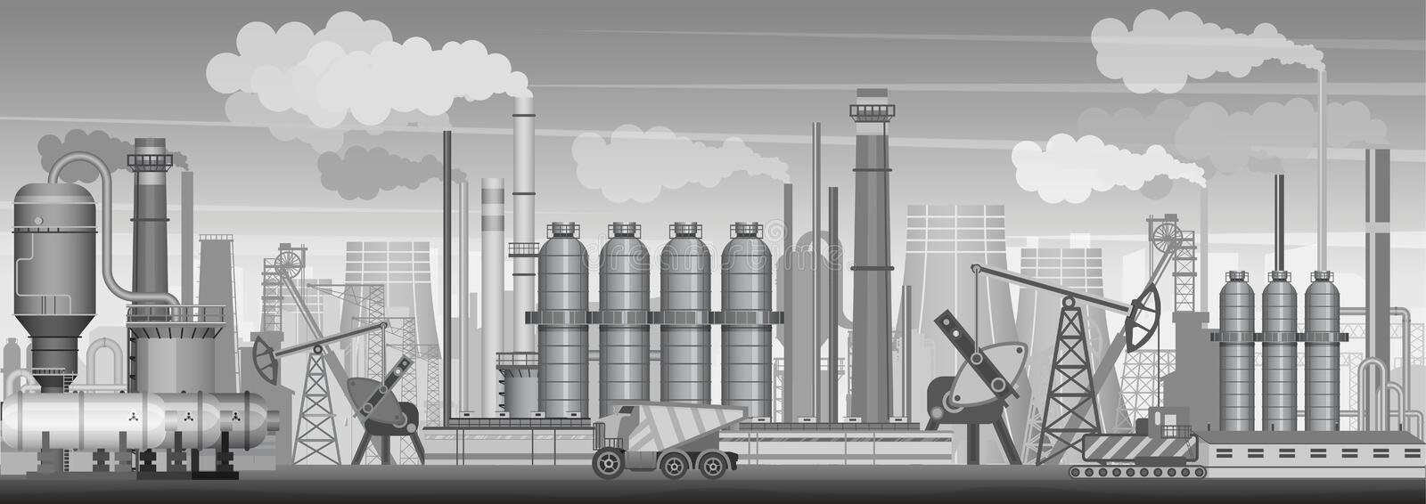 Vector heavy industrial landscape background. Industry, factory and manufacture. Environment pollution. royalty free illustration