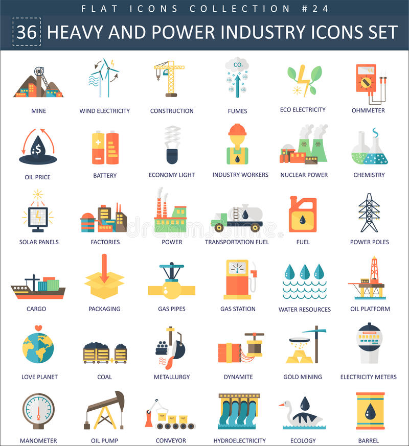 Vector heavy and power industry color flat icon set. Elegant style design. stock illustration