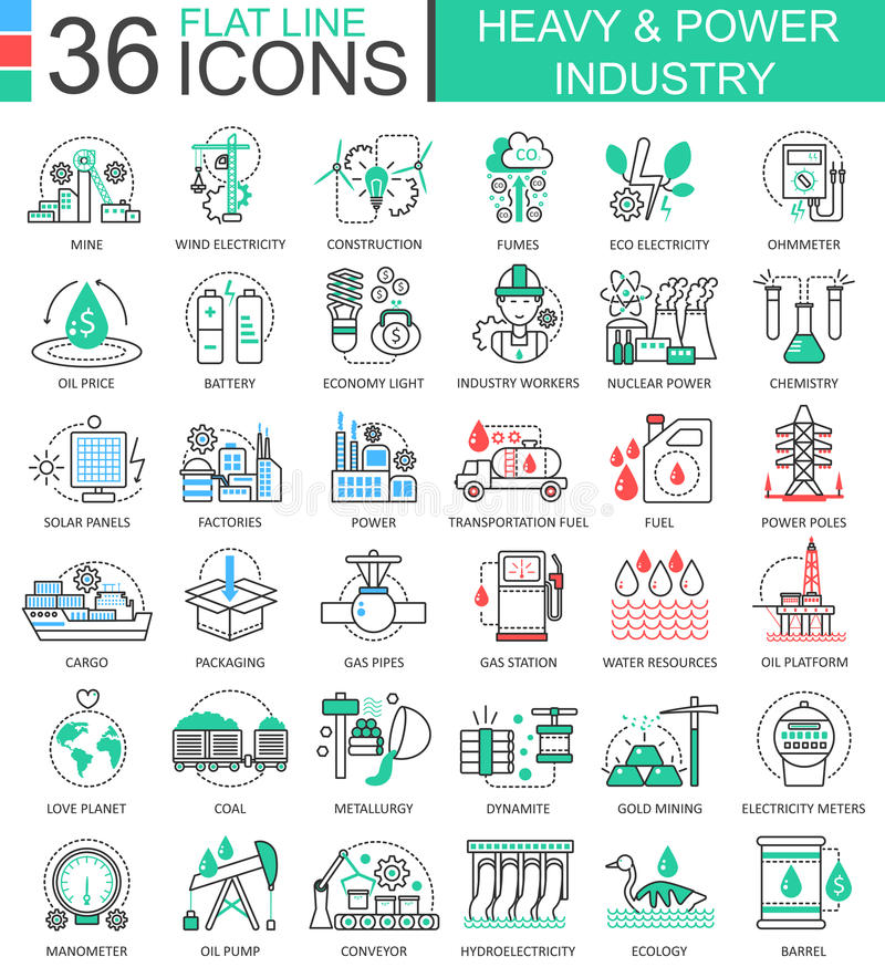 Vector Heavy and power industry flat line outline icons for apps and web design. Heavy power industry high technology. Icons stock illustration