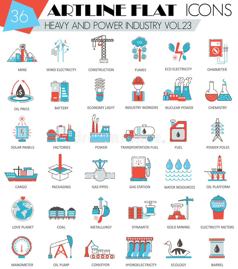 Vector Heavy and power industry ultra modern outline artline flat line icons for web and apps. vector illustration