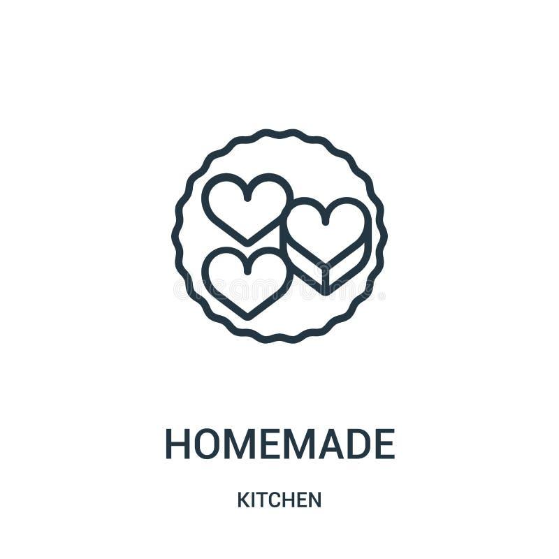 vector hecho en casa del icono de la colección de la cocina Línea fina ejemplo hecho en casa del vector del icono del esquema libre illustration