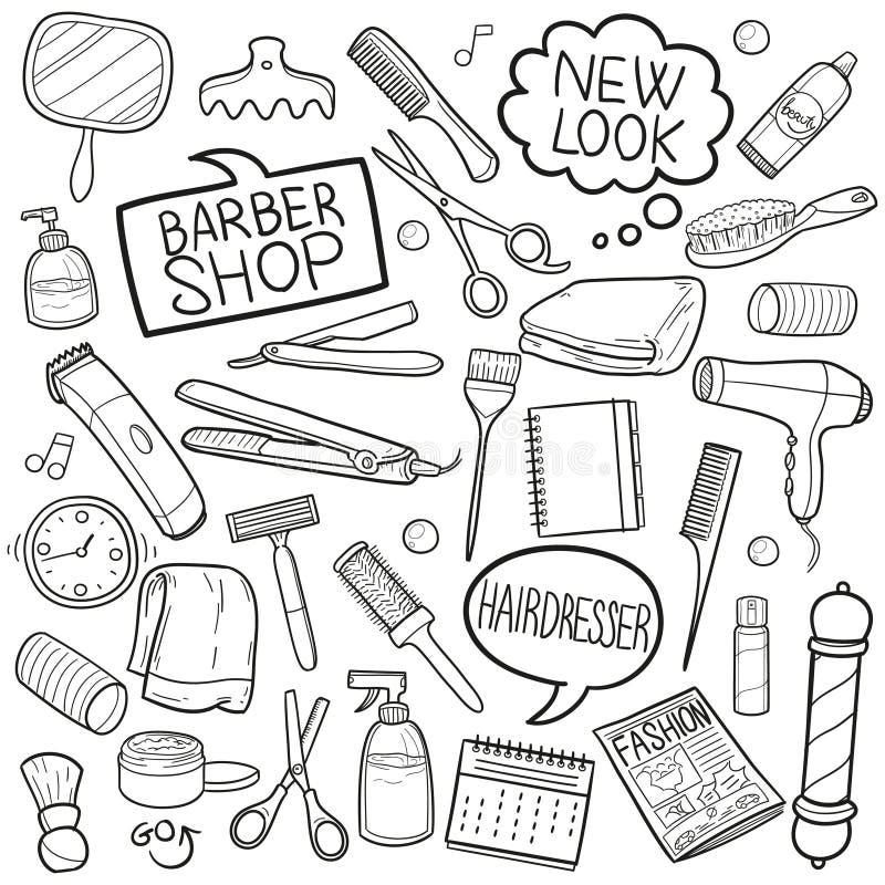Vector hecho a mano del diseño del bosquejo de los iconos del garabato de Barber Shop Hairdresser Equipment Traditional ilustración del vector