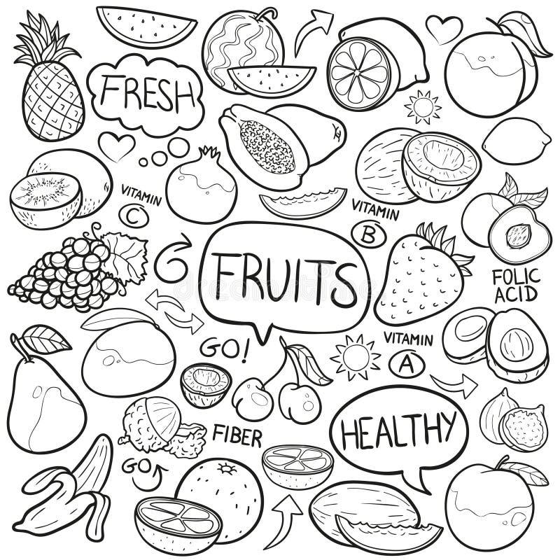 Vector hecho a mano del diseño del garabato de la comida de las legumbres de frutas del bosquejo tradicional de los iconos libre illustration