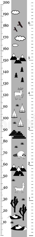Vector height chart in minimalistic scandinavian style. Meter Wall or Height Meter, centimeter and Inch Scale. Black and. Kids height chart in minimalistic stock illustration