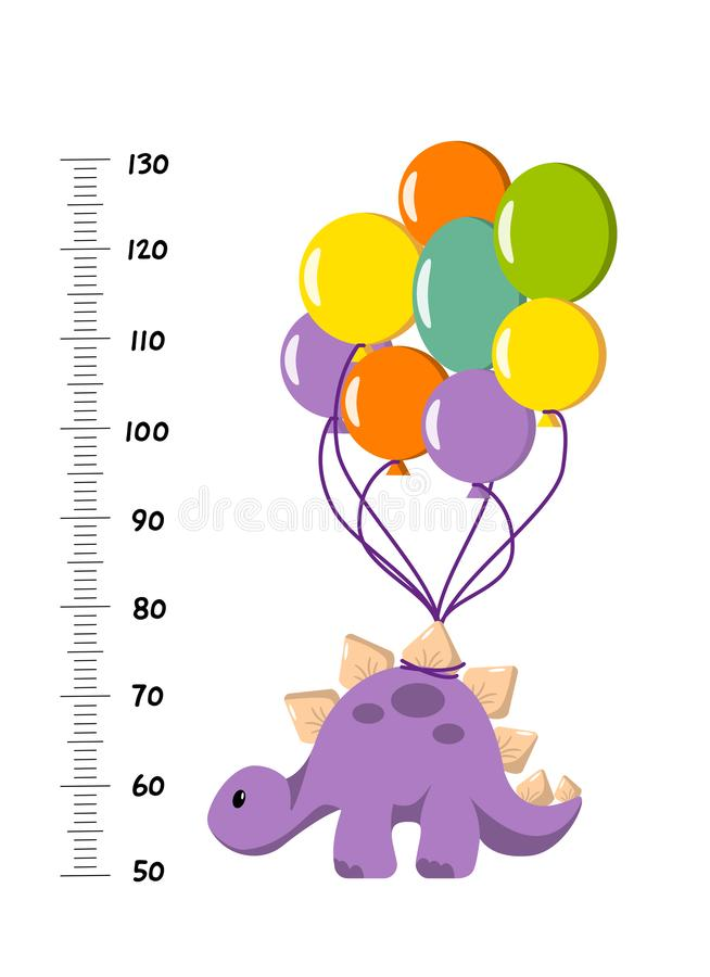 Vector height wall chart decorated with cartoon dinosaur - stegosaurus with balloons - and numbers. Illustration in flat style for royalty free illustration