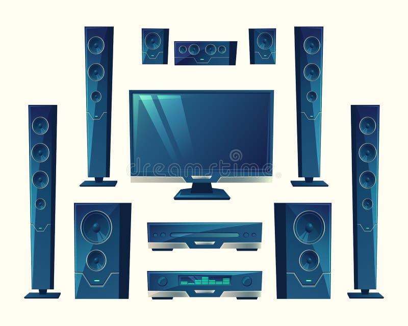 Vector Heimkino, akustische Ausrüstung, Stereotechnologie vektor abbildung