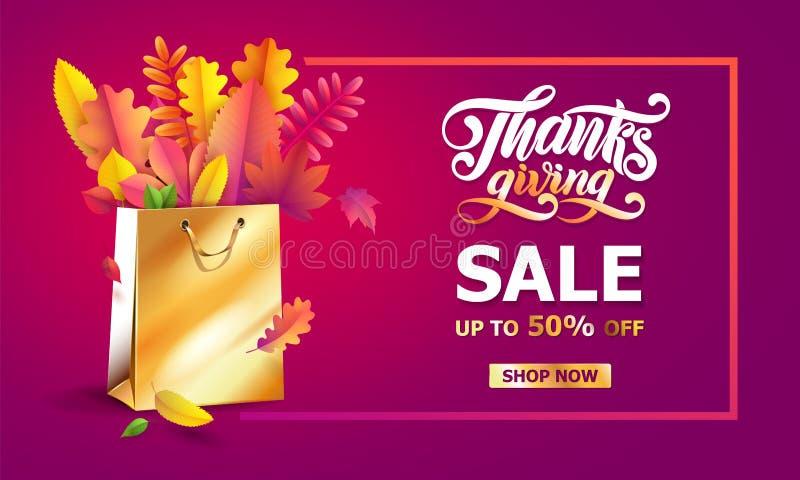 Vector helder boeket van de herfst gevallen bladeren in gouden giftdocument het winkelen zak Dankzeggingshand getrokken van lette stock illustratie