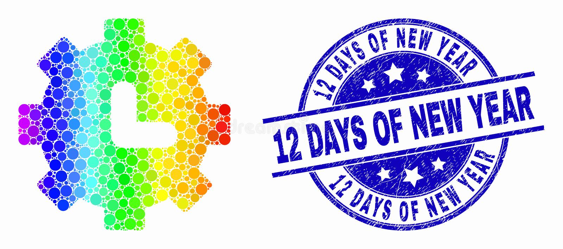 Vector Helder Dot Clock Settings Icon en Gekrast 12 Dagen van de Verbinding van de Nieuwjaarzegel royalty-vrije illustratie