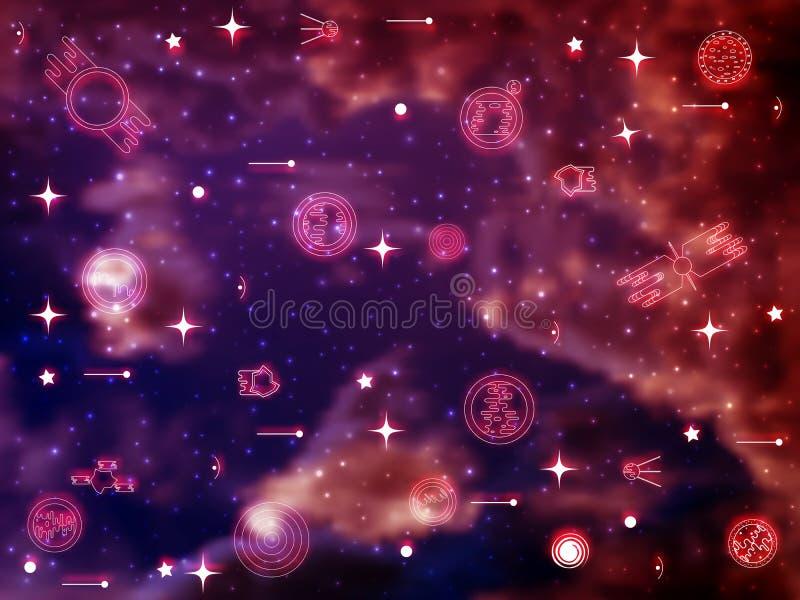 Vector heldere kleurrijke kosmosillustratie met pictogrammen van planeten Helder het glanzen Heelal met trillende sterren stock illustratie