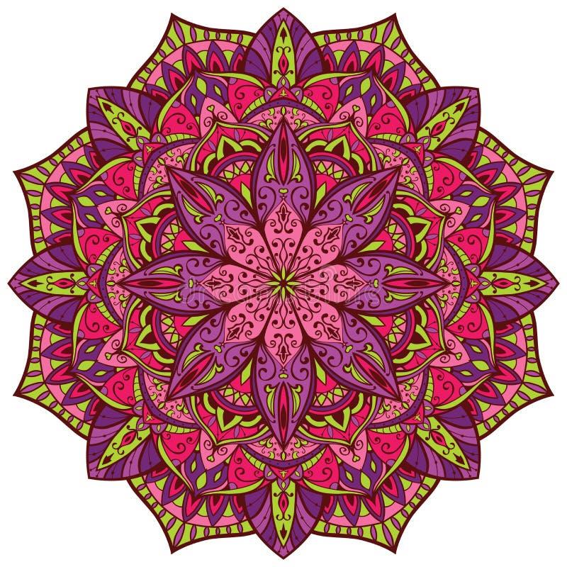Vector, heldere, kleurrijke mandala royalty-vrije illustratie