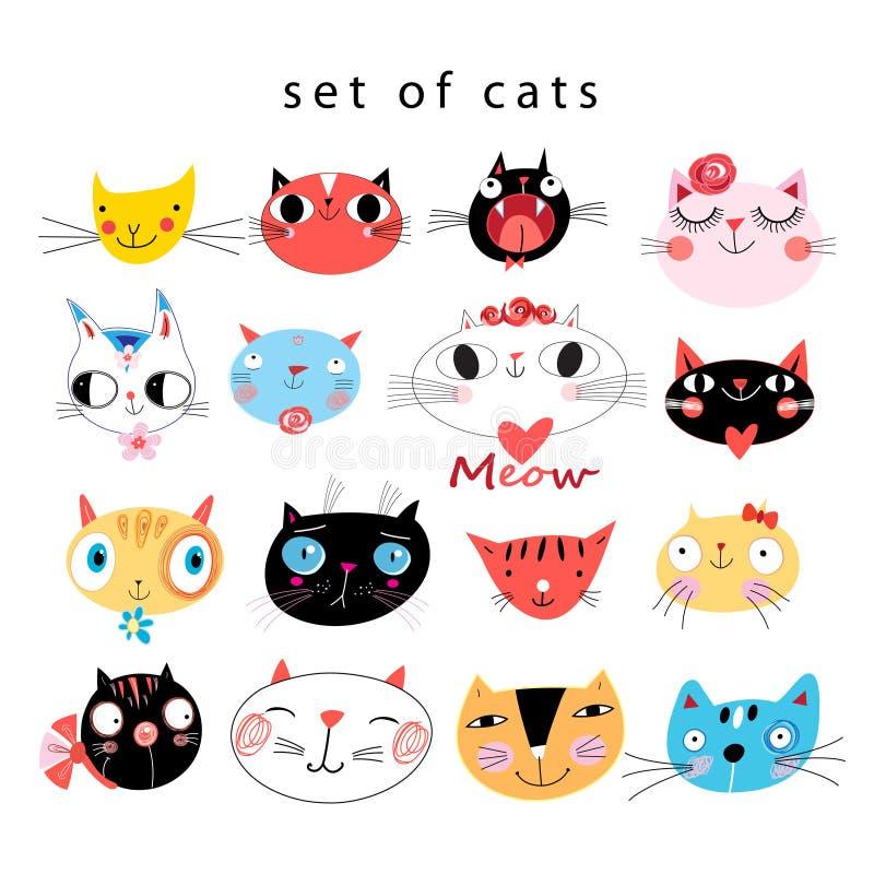 Vector heldere reeks grappige portretten van katten vector illustratie
