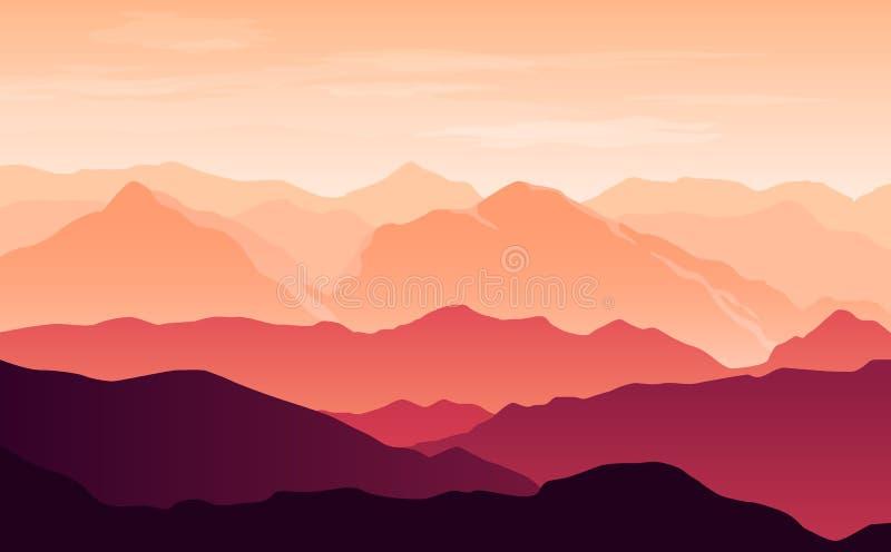 Vector heldere silhouetten van oranje en purpere bergen in de avond met wolken in de hemel vector illustratie