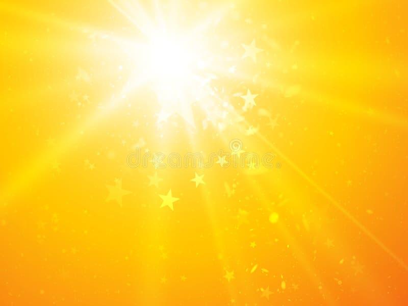 Vector heldere zonnige stralenachtergrond met sterren royalty-vrije illustratie