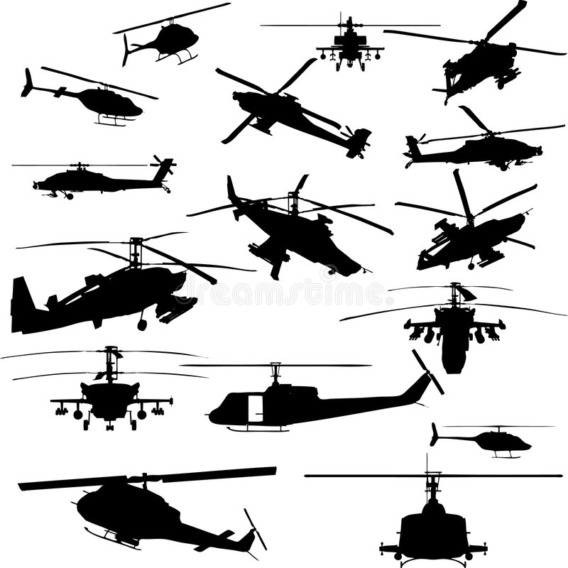 Vector helicopter silhouettes stock illustration