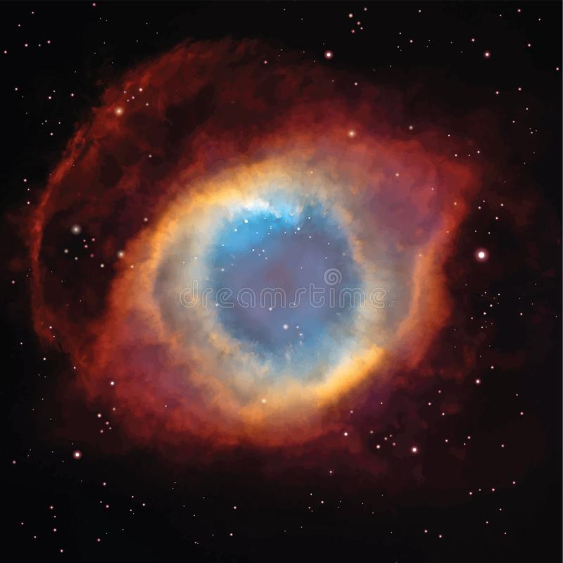 Vector Helix Nebula in the constellation Aquarius. Background with Night Sky and stars stock photography