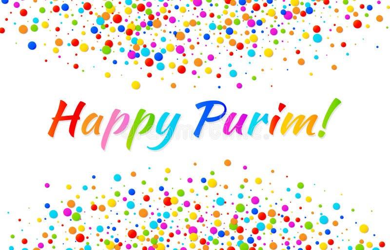 Vector helle horizontale Karte glücklichen Purim-Karnevalstext mit bunte Regenbogenfarbpapierkonfetti-Rahmenhintergrund lizenzfreie abbildung